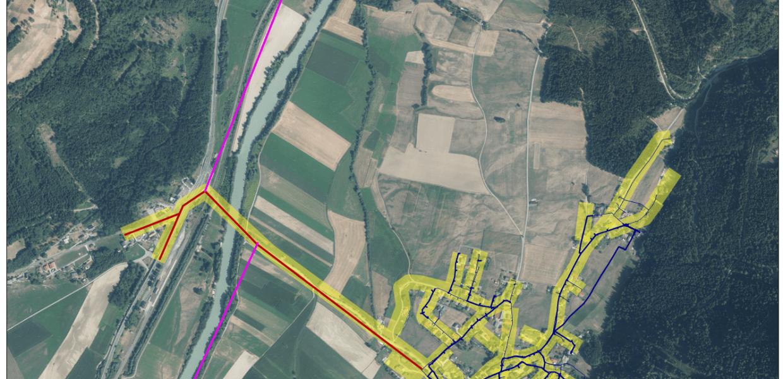 Landschaft von oben-Plan-Wasserleitungskataster